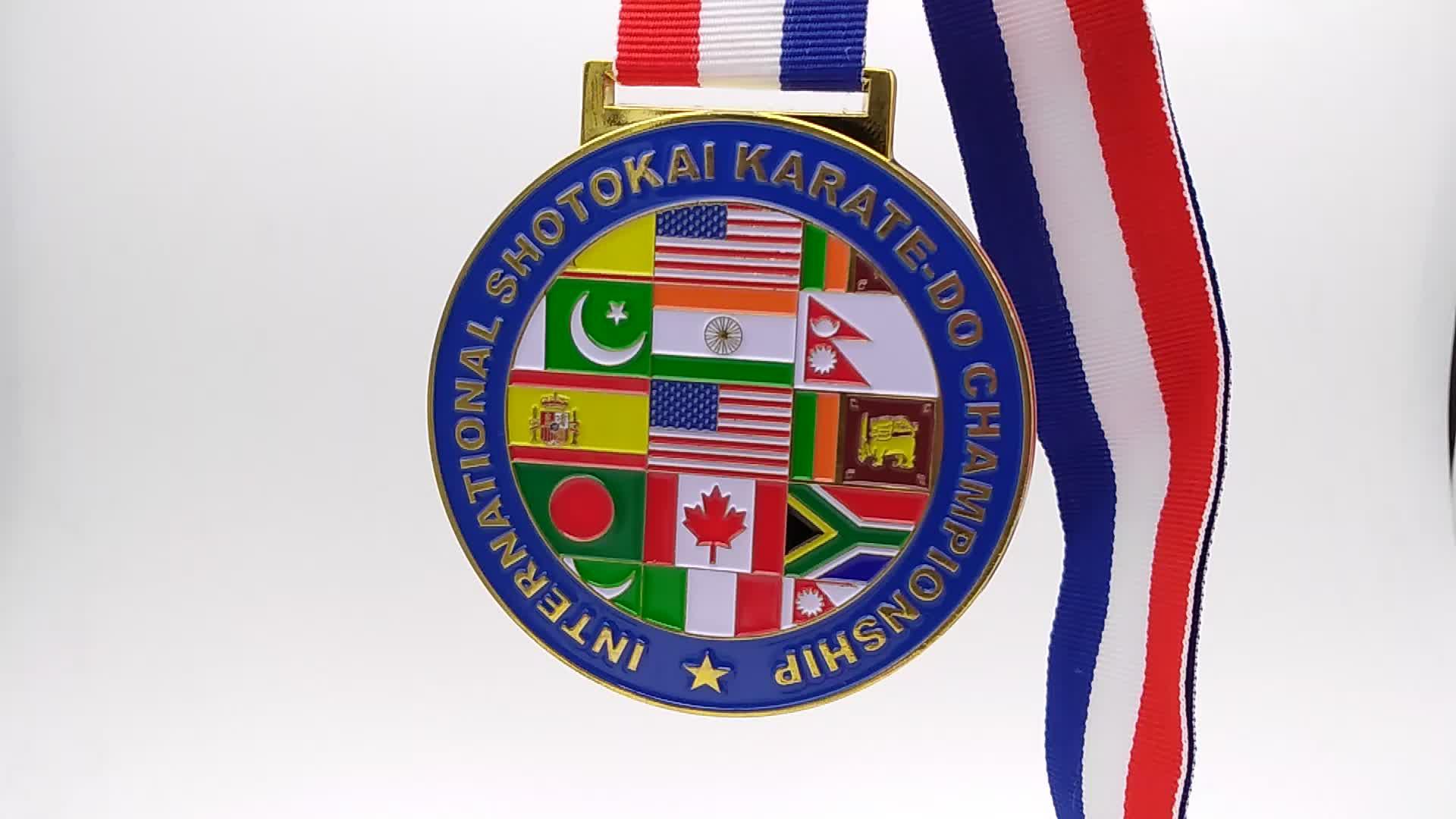 Customize karate championship award medal soft enamel metal medal