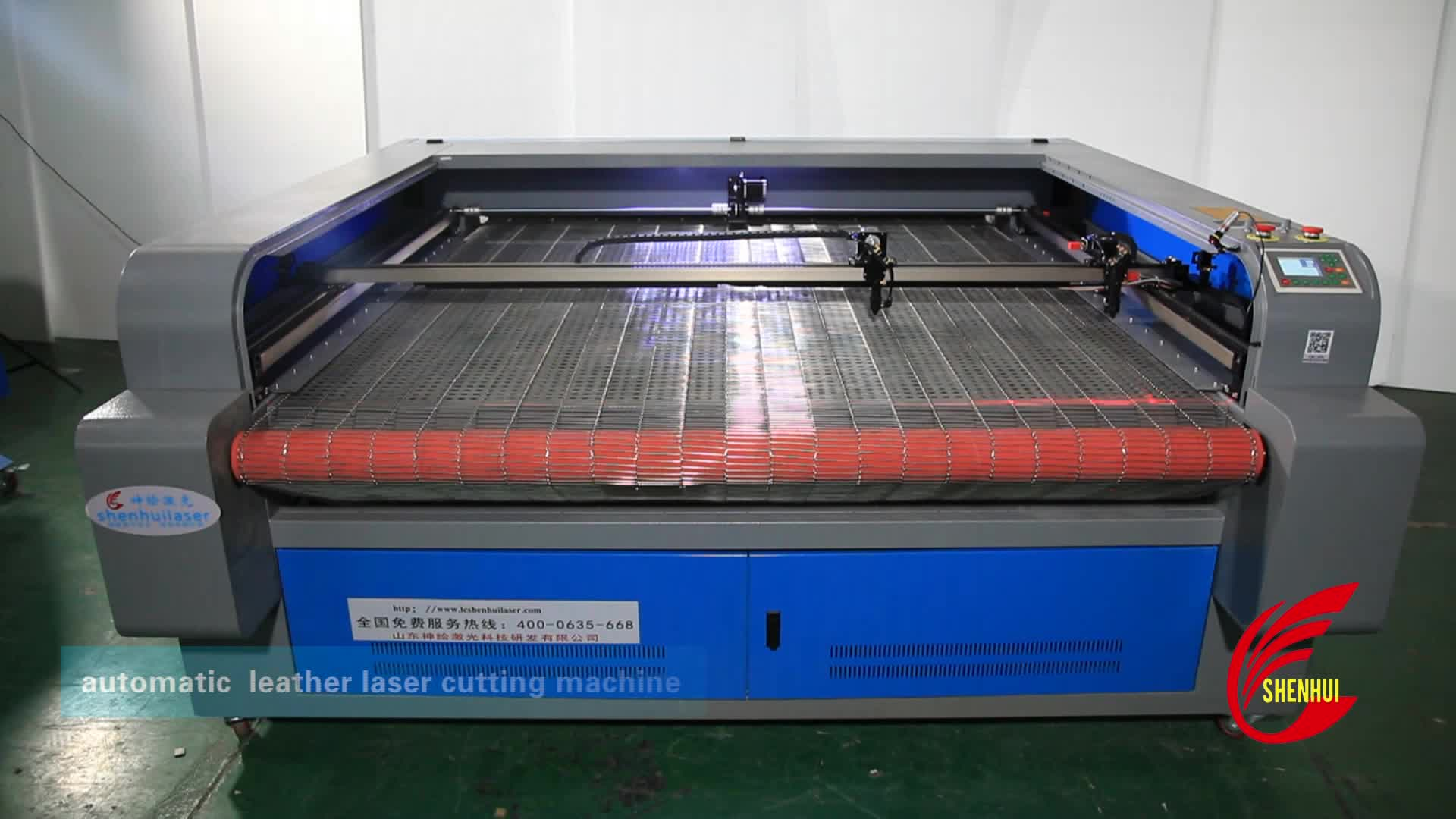 SH-2513 double heads auto feeding 100w 130w co2 laser leather cutting machine for shoes making