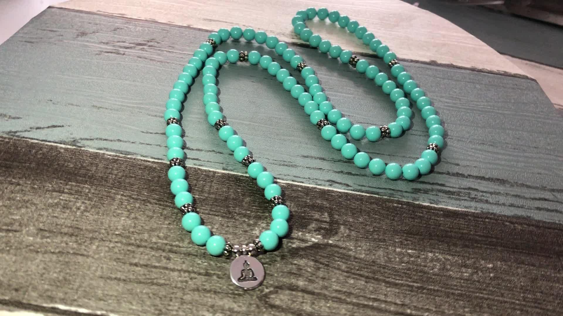 SN1310 108 Prayer beads Mala Bracelet For Men Germany Turquoise Stone Wrapped Wrist OM Buddhist Buddha Charm Bracelet