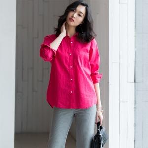 ARTIN徕倩春季新品女士亮色系棉麻衬衫纯色长袖亚麻衬衣 BL2088