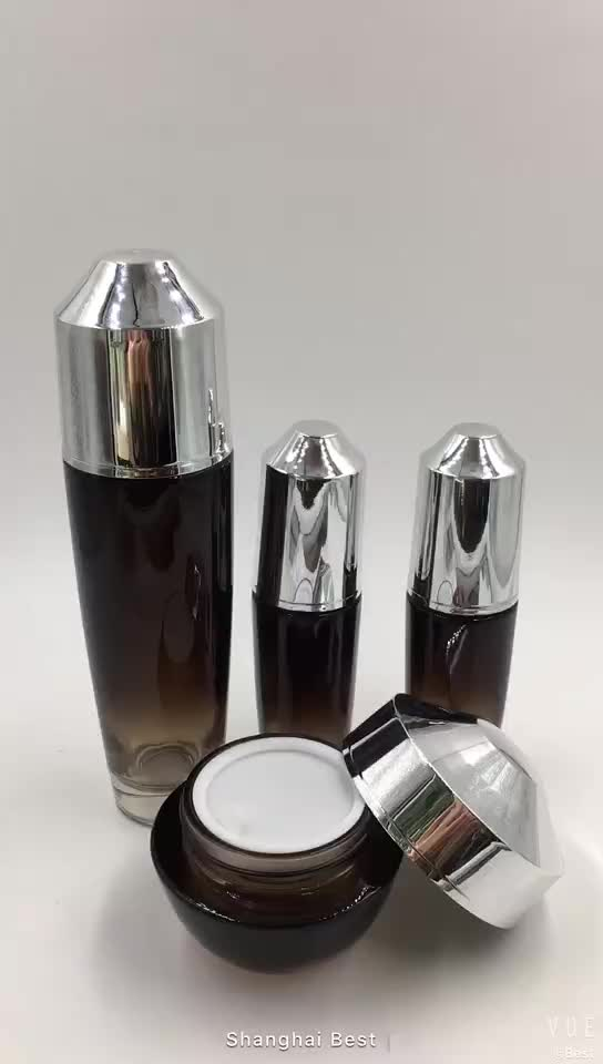 brown cosmetic glass bottle 50g cream jar for skin care