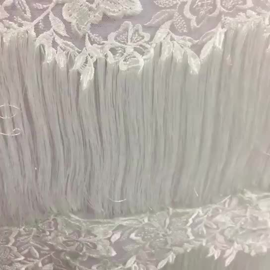 Hot sales 100% Net embroidery polyester white lace fabric for wedding dress