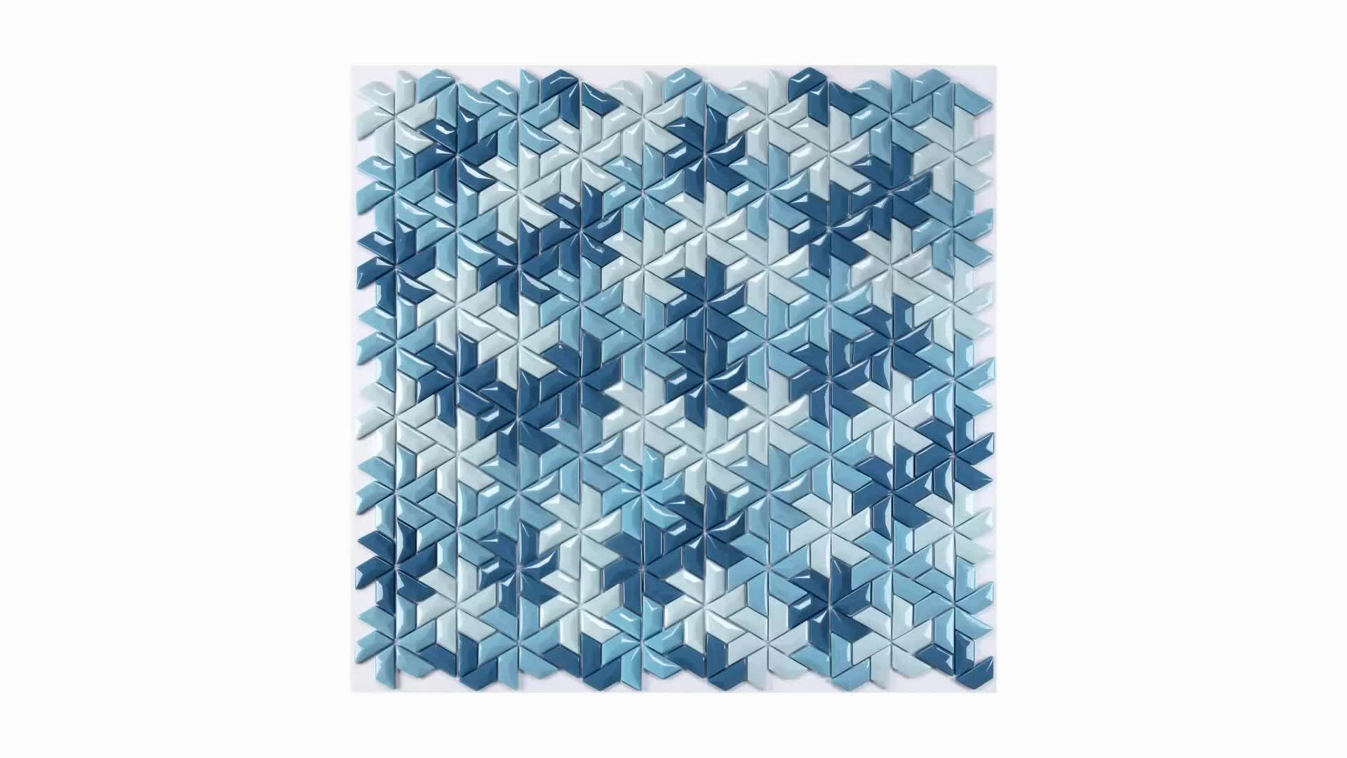 Blue 3d Unique Design Recycle Mosaic Enamel Glass Tile Backsplash ...