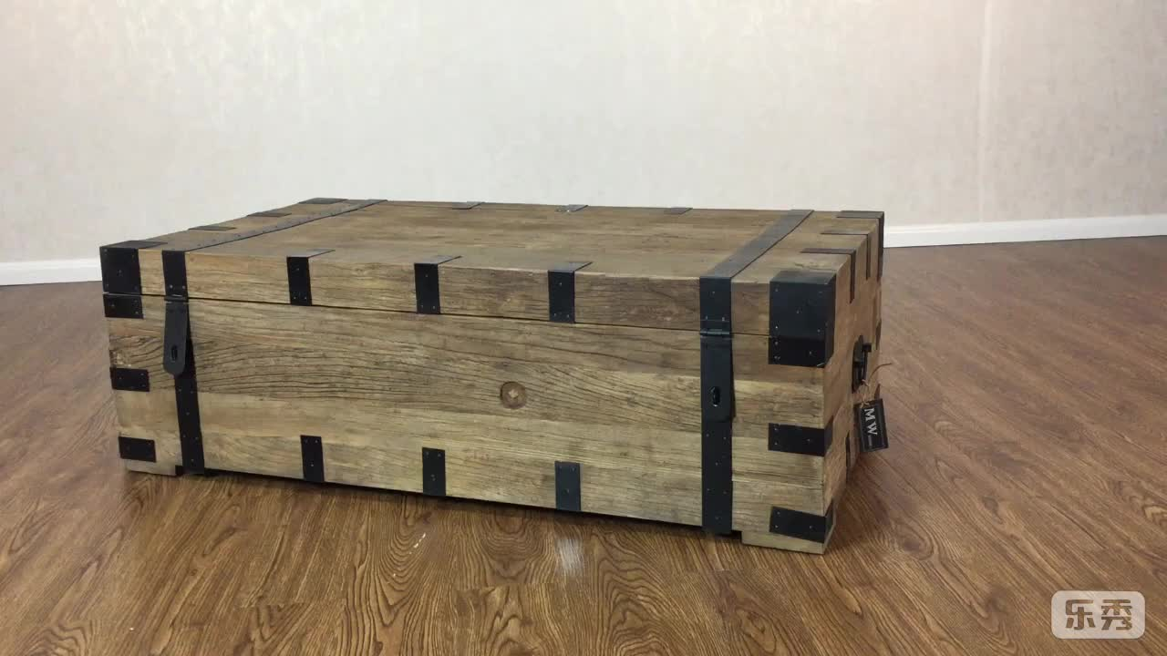 Vintage industrial metal reclaimed elm wooden storage trunk coffee table