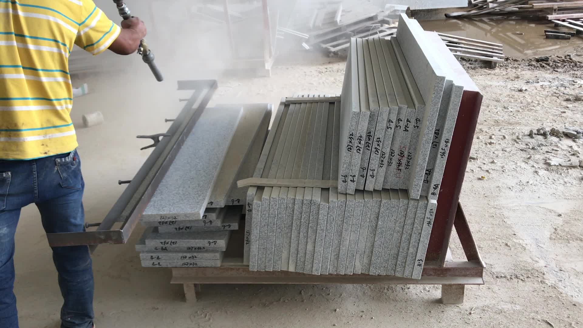 Custom Cheap G603 Flamed And Brushed Interior Granite G603 Stone Stair Tread