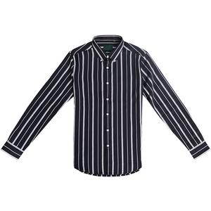 坚条纹男修身潮流休闲帅气长袖衬衫