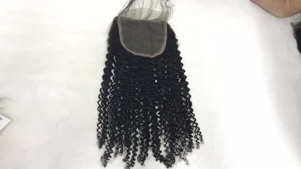 Kinky Curly Lace Front Closure,  Free Part / Middle Part / Three Part Virgin Human Hair  Swiss Lace Closure In Large Stock