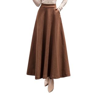 毛呢秋冬新款高腰复古a字裙半身裙
