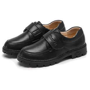 皮鞋男男童黑色英伦风秋季款黑童鞋