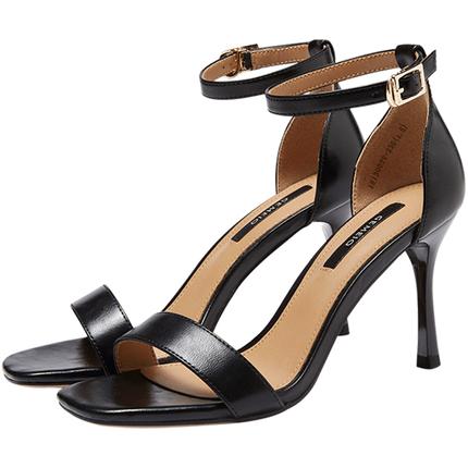 戈美其夏季新款高跟粗跟罗马凉鞋