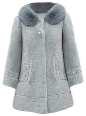 2020新款妈妈冬装水貂绒外套中老年女秋冬装毛呢大衣中长款洋气厚