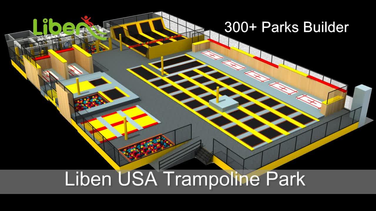 Liben Commercial Indoor Trampoline Park with Ninja Course