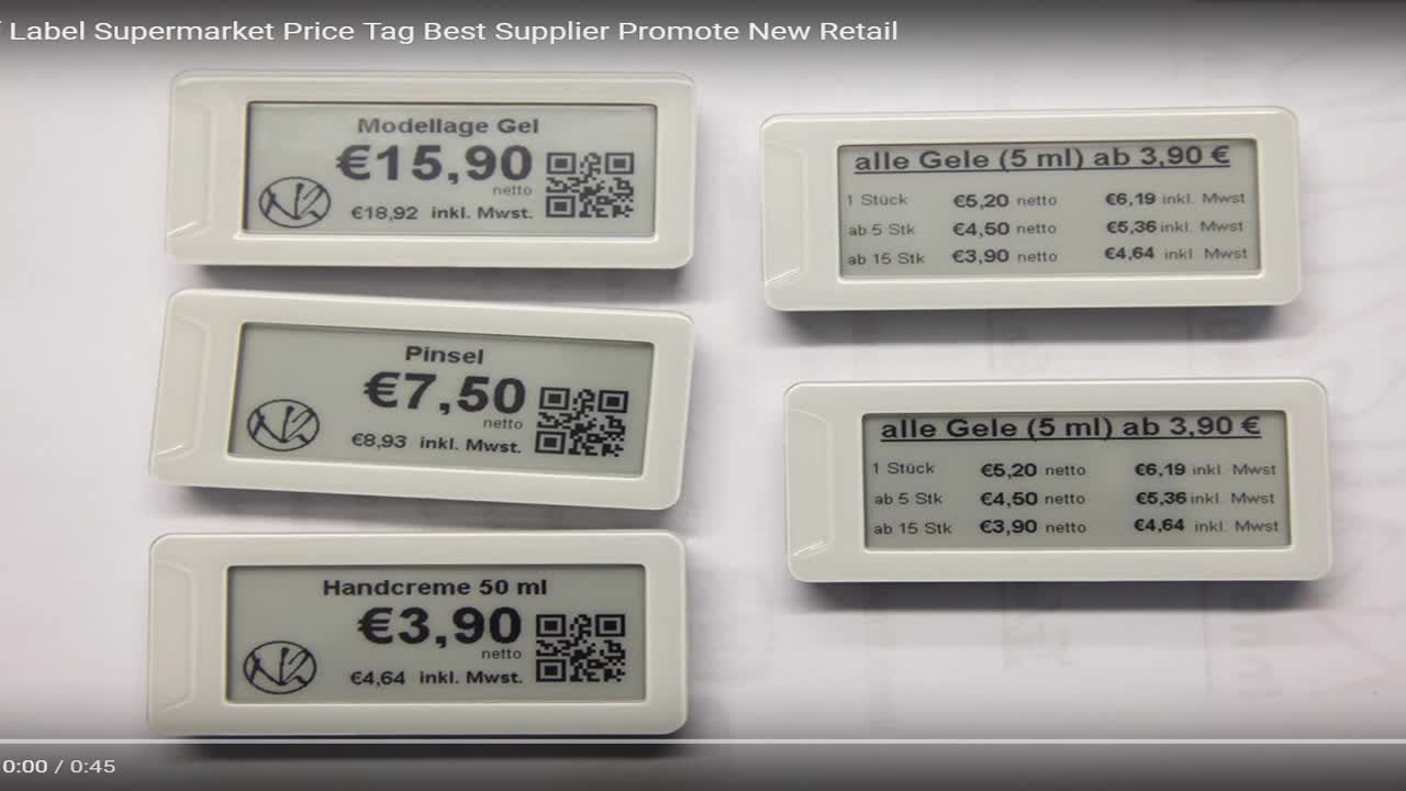 Wireless RFID E-ink diplay supermarket electronic shelf label, ESL e-paper price tag
