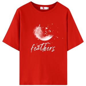 纯棉红色女短袖2021新款夏季潮t恤