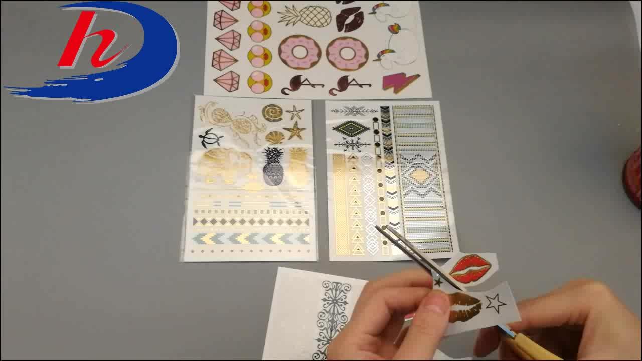 कस्टम नकली सोने की पन्नी धातु शरीर हाथ फ्लैश स्टीकर अस्थायी टैटू