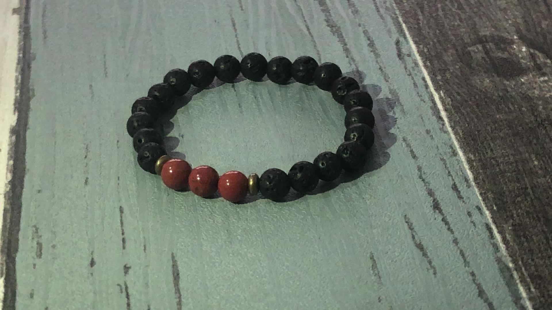 SN1731 Natural Stone Stretchy Jewelry 8mm Black Lava Stone Bracelet For Mens 8mm Stone Beads Meditation Bracelet Mala Jewelry