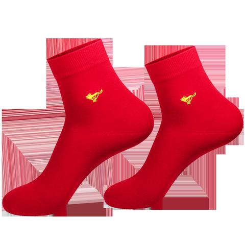 七匹狼袜子本命年男士红色厚棉袜春秋中筒袜冬季保暖鸿运男袜四季