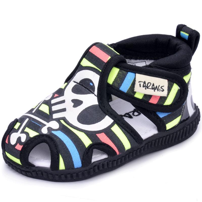 男宝宝凉鞋夏季新款泰兰尼斯包头叫叫鞋宝宝软底学步鞋棉布不掉鞋
