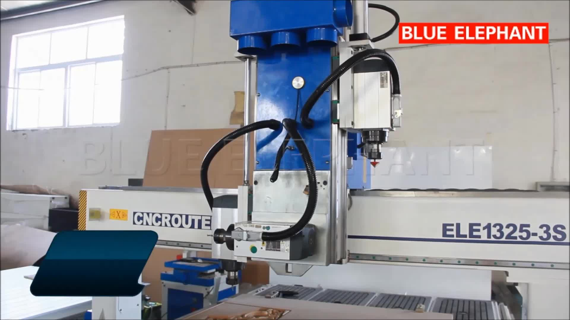 1325 Pneumatic System 3 Spindle , Multi Head Cnc Atc 1325 , 3D Wood Carving Router Machine 4 Axis with Balance Cylinder