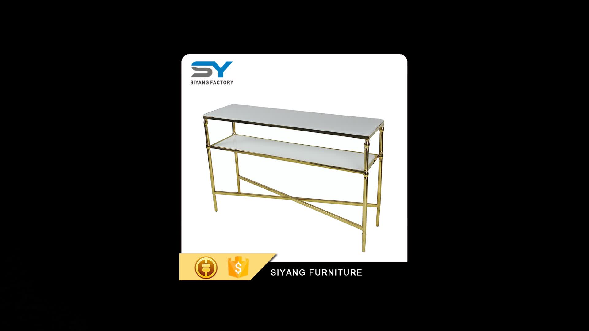home furniture curved glass sofa table art deco console table antique xg002