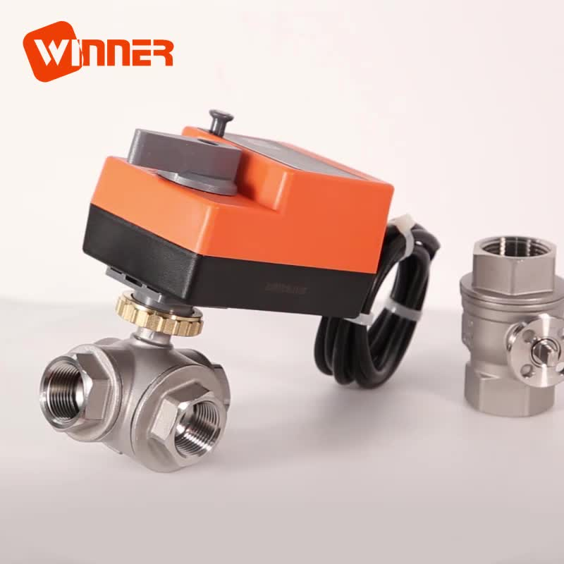 24VDC Three Way T Type 50mm Motorized Water Control Ball Valve