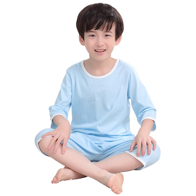 男童家居服纯棉女童全棉短袖睡衣套装夏天儿童棉绸空调服夏季薄款