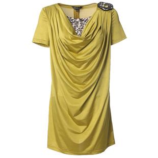 贝特如专柜正品新夏款时尚妈妈装连衣裙黄色堆堆领纯色减龄装