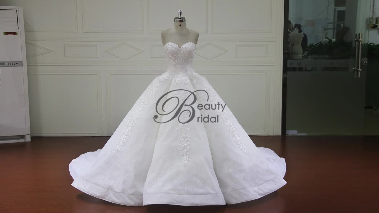 XF16147 newest design of ball gown wedding dress 2017 fashion sweetheart neckline bridal dress with long train