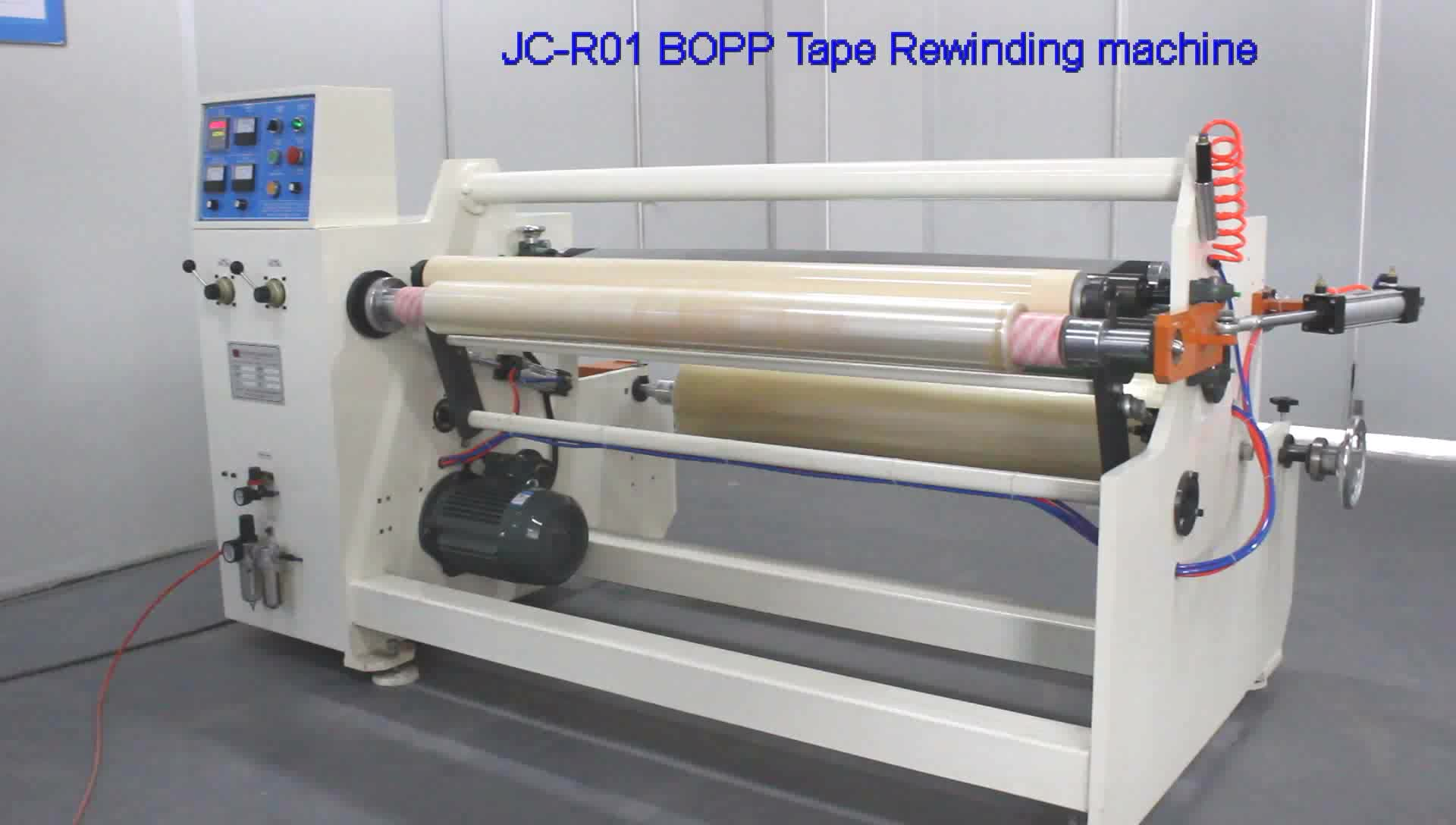 Big roll rewinding machine for adhesive tapes jumbo roll