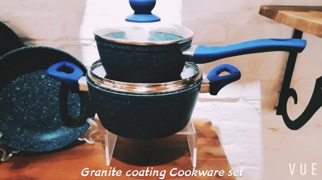 New design forged Aluminum home cooking pot and pan Marble stone coated cookware set with professional handles