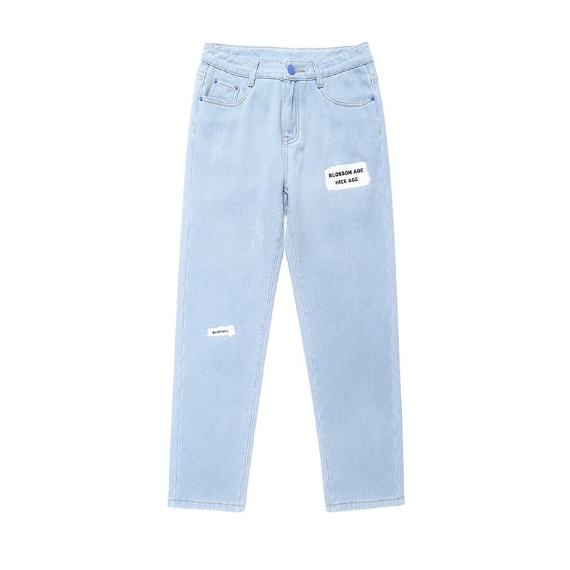 春季港风新款破洞九分男修身牛仔裤价格多少好不好用