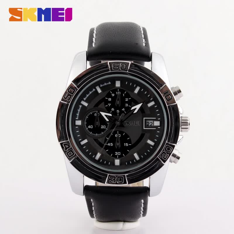SKMEI 9156 quartz stainless steel back watch with date for bracelet men leather