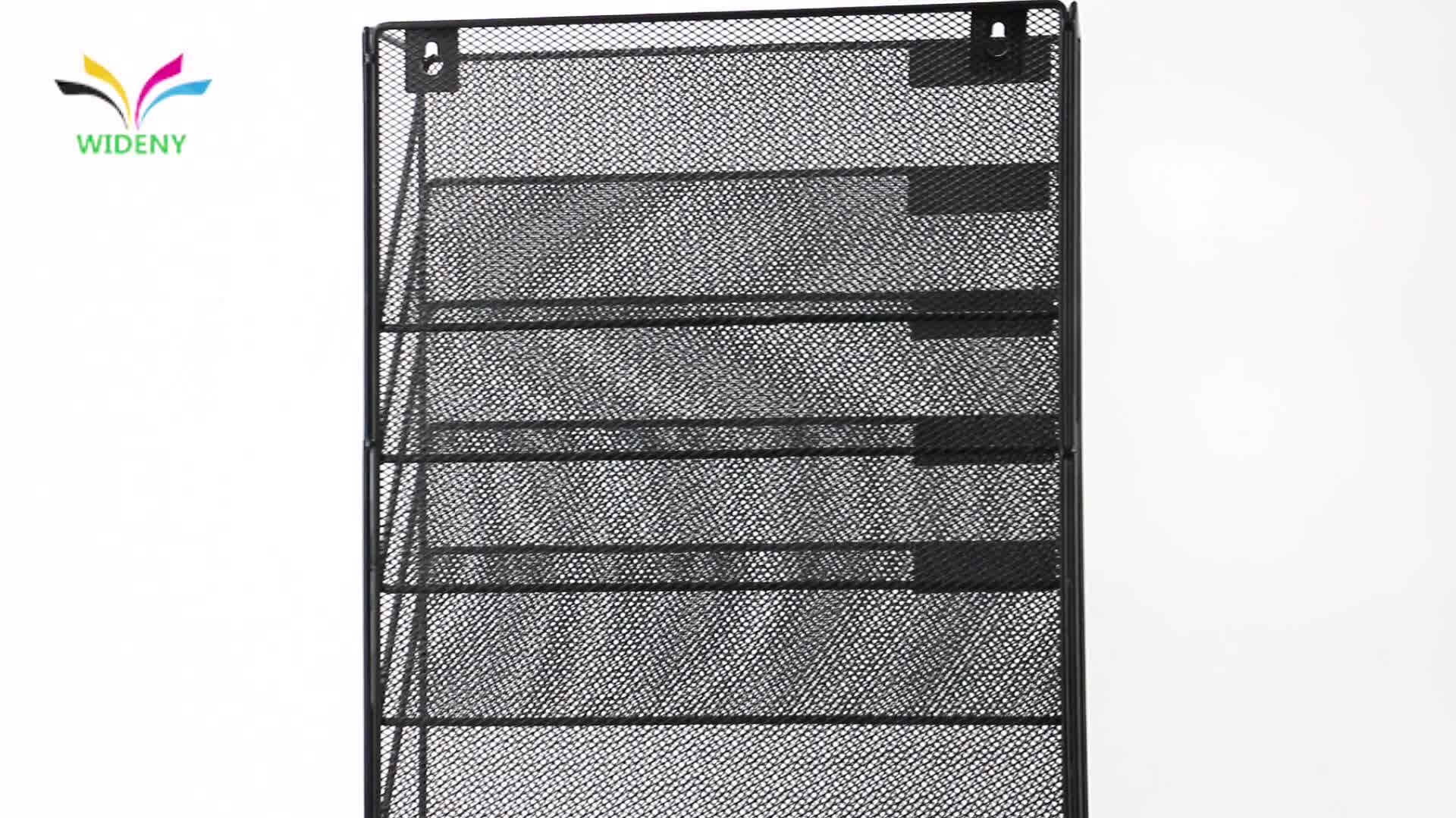 Office stationery 5 tier wire iron mesh mounted paper document wall hanging metal file tray for amazon top selling