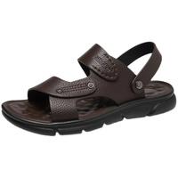 奥康男鞋 夏季荔枝纹皮凉鞋男士休闲透气沙滩鞋舒适软底真皮鞋子