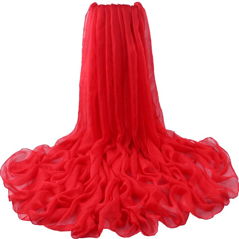 丝巾女夏季薄款百搭围巾女纱巾超大防晒沙滩巾海边披肩空调房冬季