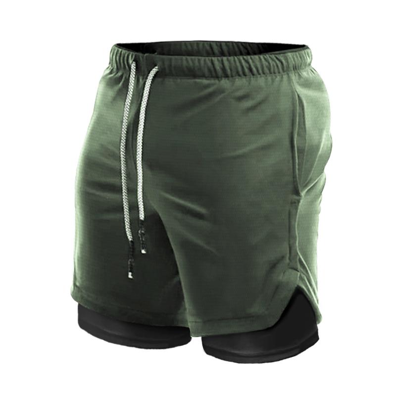 运动短裤男速干跑步健身假两件双层五分裤足球美式篮球田径训练裤