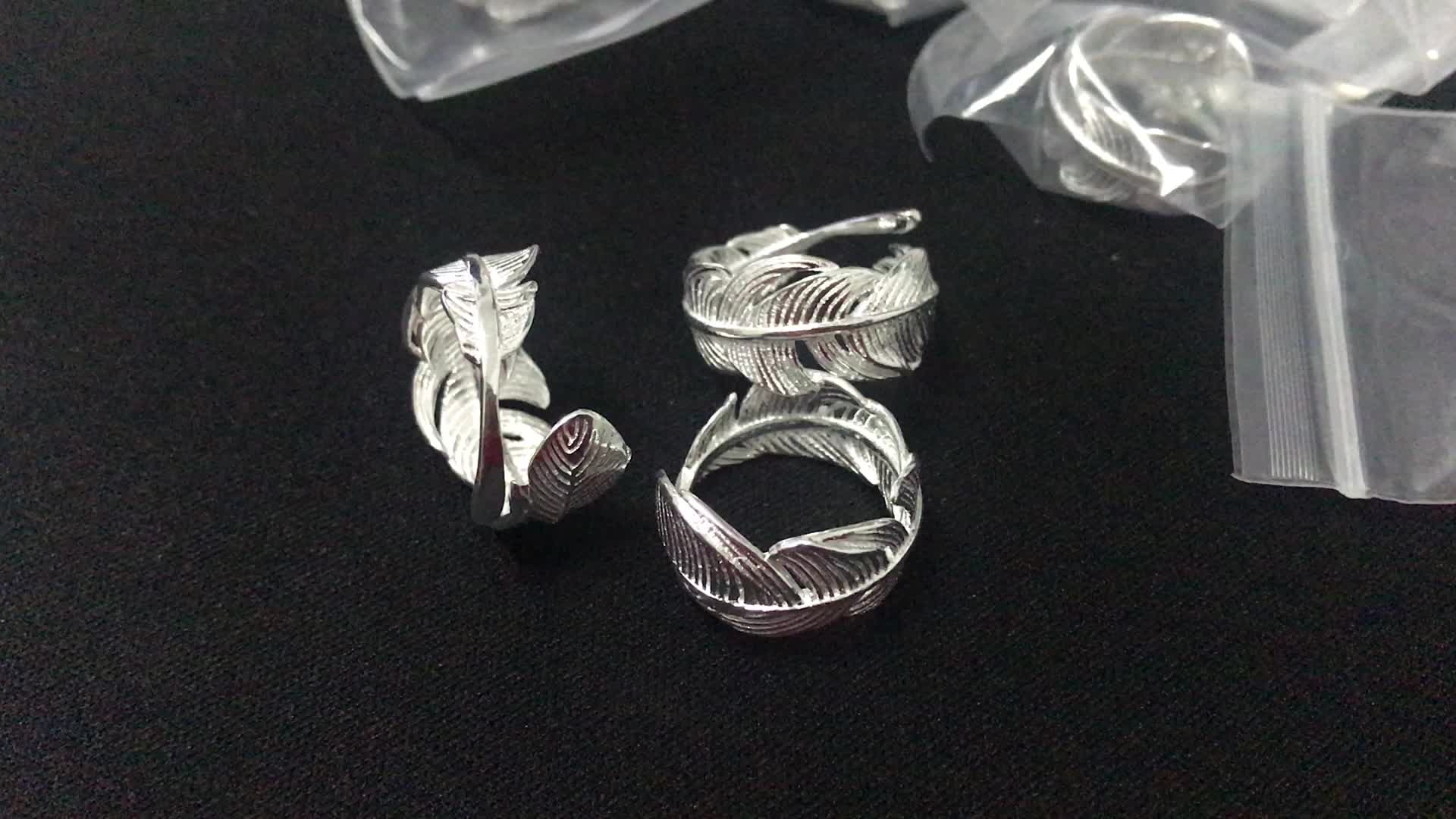 MYLOVE FREE SHIPPING size adjustable Feather 925 sterling silver ring wholesale
