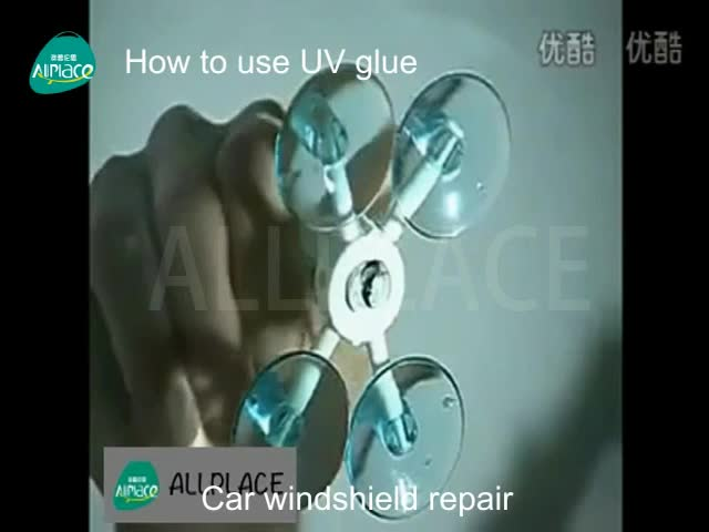 Windshield Stone impact crater repair resin