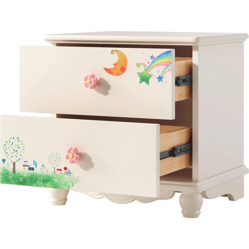 林氏木业床头柜女孩儿童房卡通简约现代迷你卧室储物小柜子DI1B