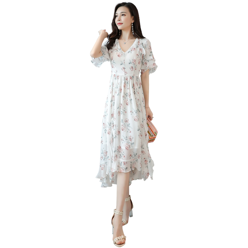 木帛2019夏季新款波西米亚连衣裙仙女超仙甜美碎花雪纺a字裙T6009