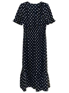 正品哥弟新款女装专柜2021夏季修身气质显瘦波点开叉短袖连衣裙子