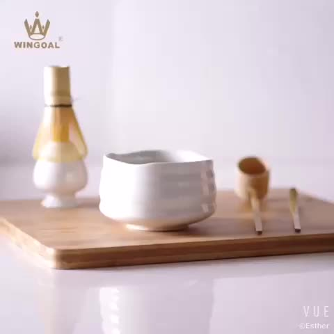 Starter kit set of 5 matcha tea ceremony set ceramic bowl with chasen bamboo whisk and spoon