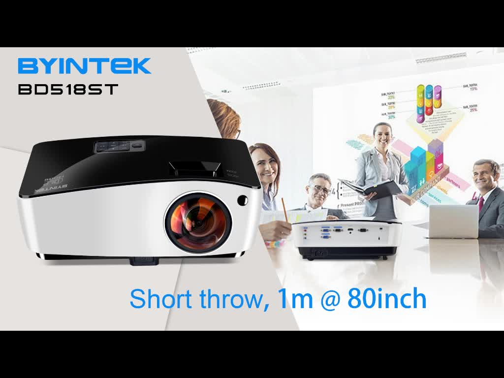 1080P 4000 ANSI Lumens Hologram Short Throw 3D DLP Projector for Education