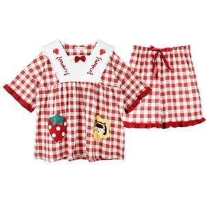 2021年新款夏季纯棉短袖短裤睡衣