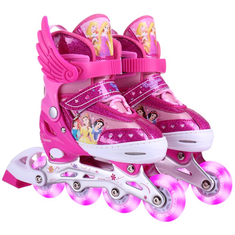 迪士尼轮滑鞋儿童初学者可调直排轮旱冰溜冰鞋全套套装滑冰鞋女孩