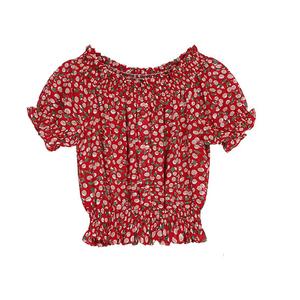 夏季2021新款短袖收腰显瘦雪纺衫