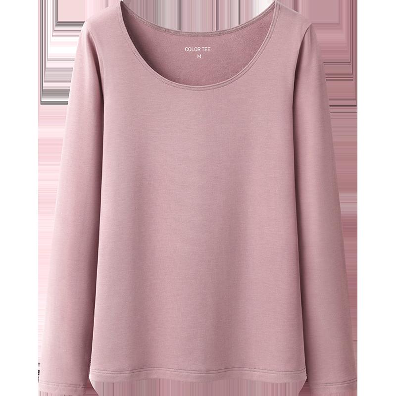 艾米恋纯色长袖t恤女秋季紧身发热加绒修身圆领上衣内搭打底衫