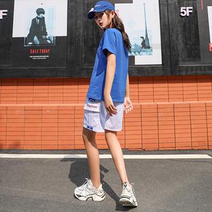 嘻哈休闲套装女短袖短裤曳步舞宽松时尚潮牌运动两件套夏季ins潮