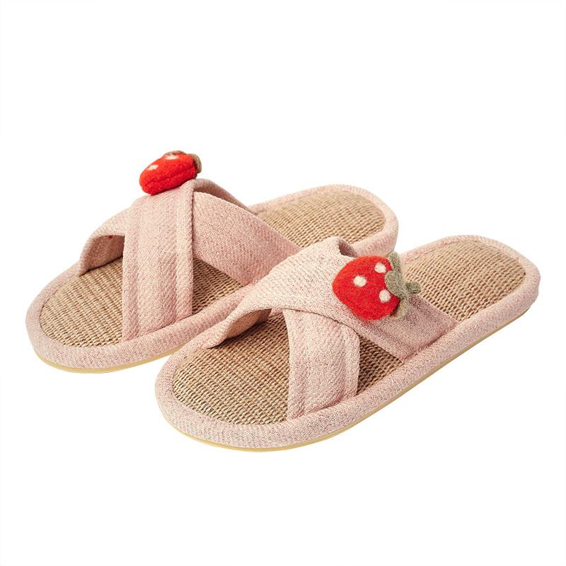 可爱室内凉拖鞋女防滑草莓棉麻拖鞋值得买吗