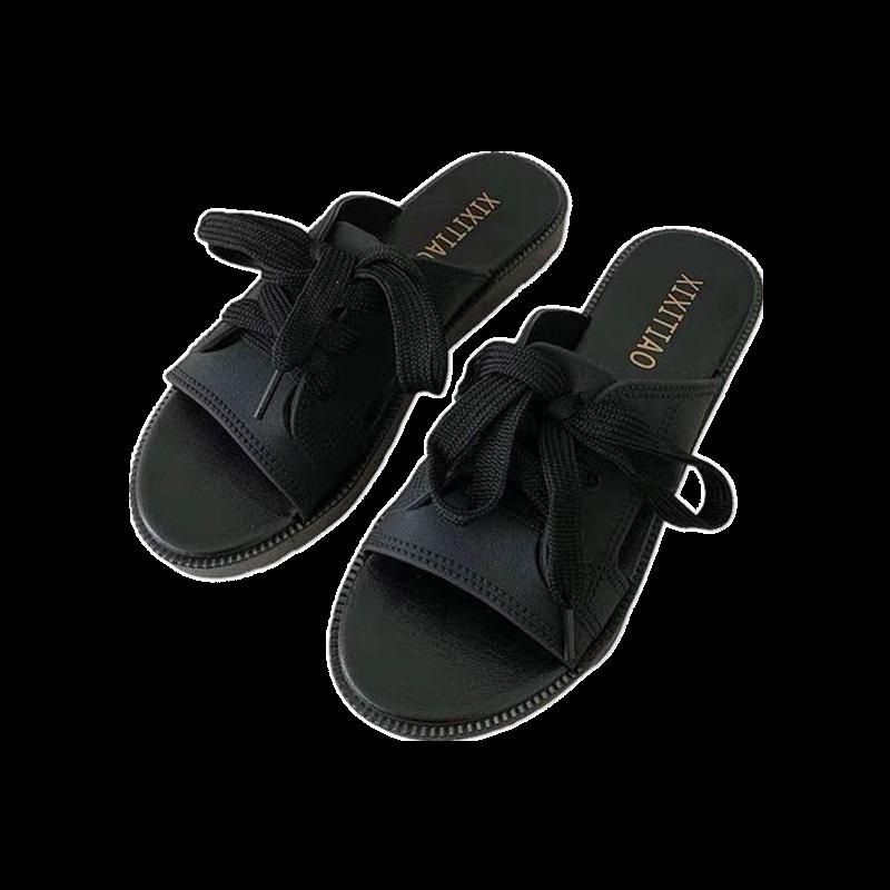 谜.莹韩版复古时尚休闲系带一字拖鞋女夏外穿平底防滑学生沙滩鞋